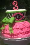 zebra and pink tu-tu 3rd birthday cake