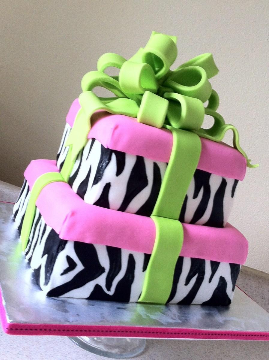 Zebra pink and green birthday cake