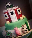 Barnyard Birthday with gumpaste animals and hay bales. Feeds 25-30 MSRP $140