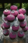 black white and pink floral cupcakes