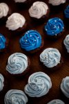 blue and white baby shower cupcakes