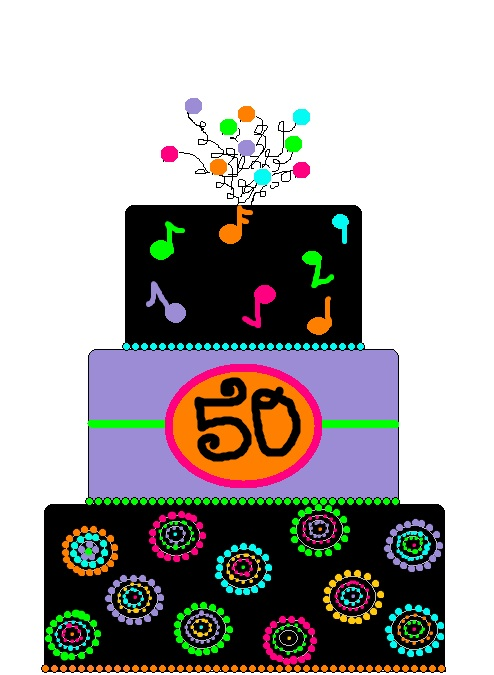 Neon 50th birthday cake