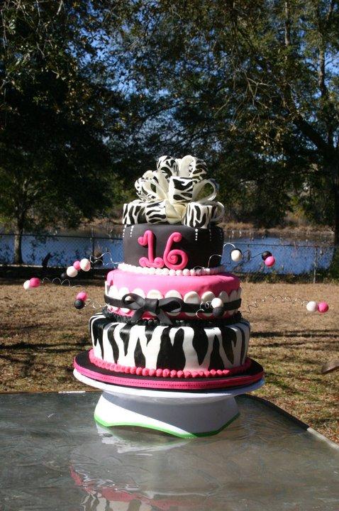pink and zebra striped bow sweet 16 birthday cake