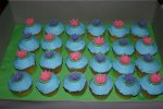 pink purple and blue lily pad cupcakes