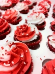Red and white Christmas cupcakes