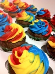 Red yellow blue rainbow tie dyed cupcakes