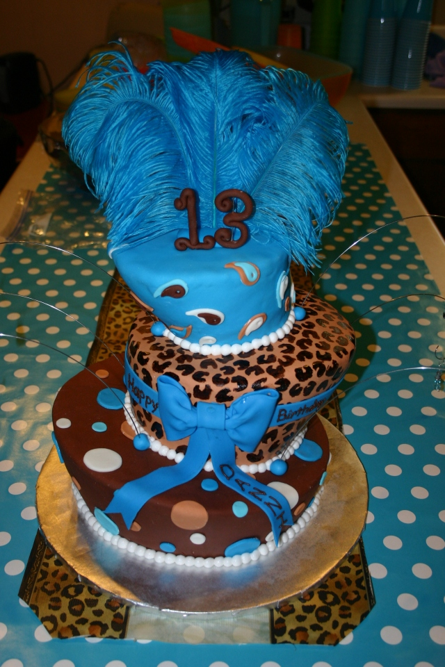 Topsy Turvy birthday cake brown and teal