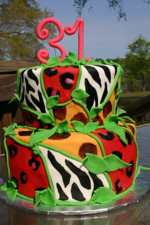 Wild Animal zebra giraffe and leopard print birthday cake