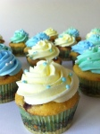 yellow green and blue cupcakes