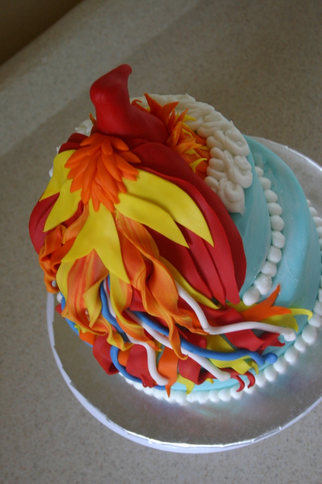 Back of phoenix birthday cake