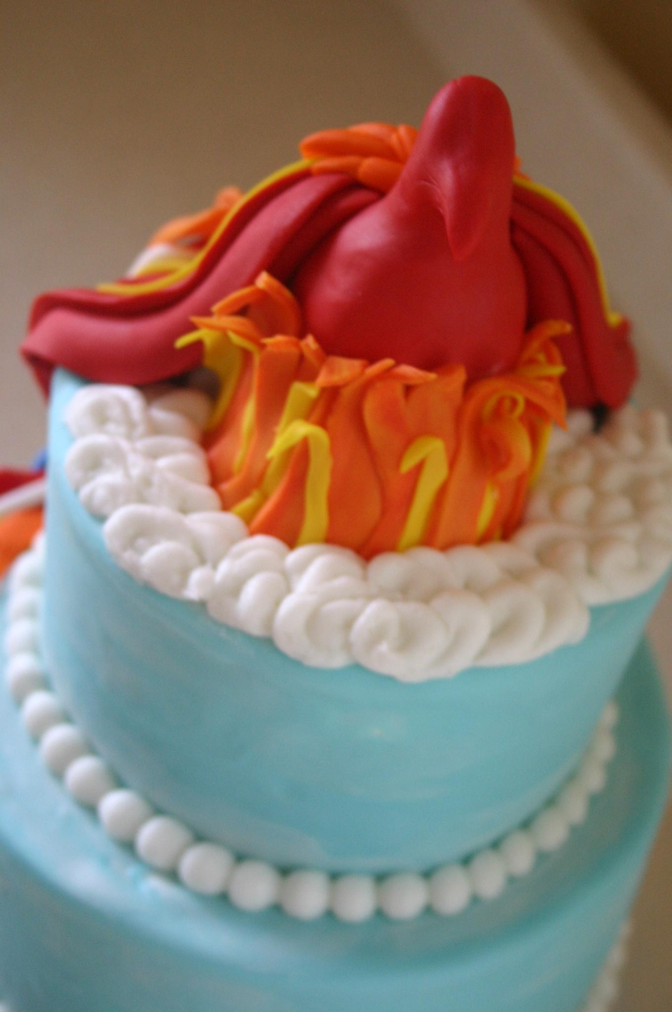 Superb Flaming Phoenix Birthday Cake Lolos Cakes Sweets Birthday Cards Printable Trancafe Filternl
