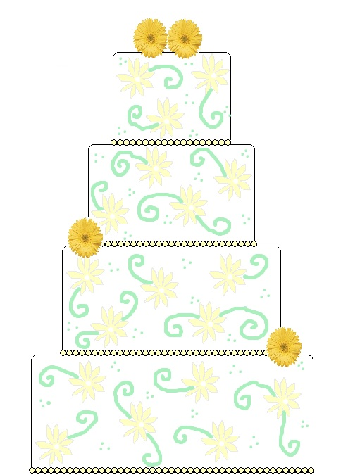 daisy yellow and green wedding cake