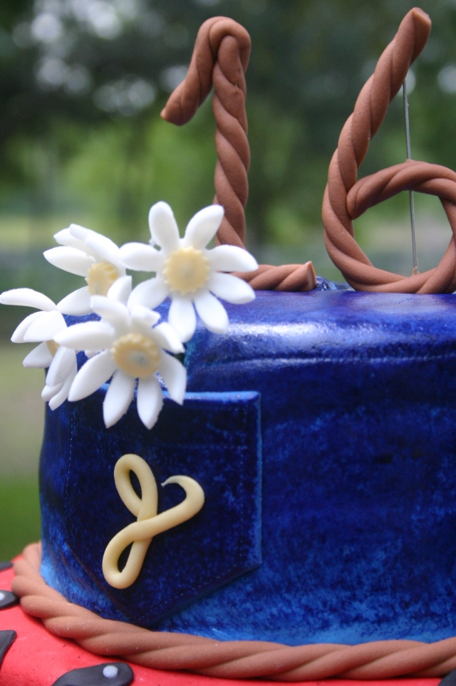 Denim tier western 16th birthday cake
