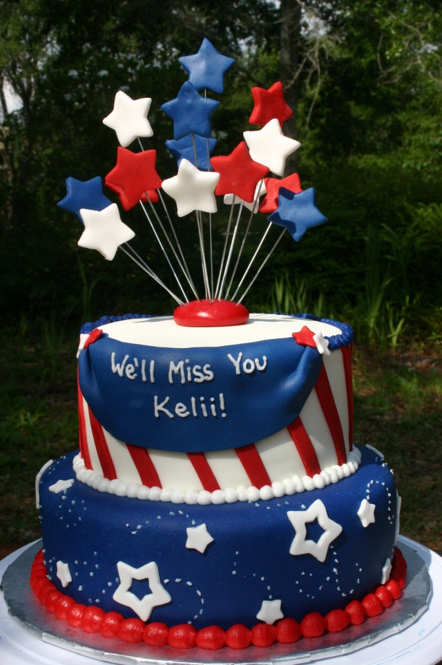 Patriotic 4th of July going away cake, red white and blue cake