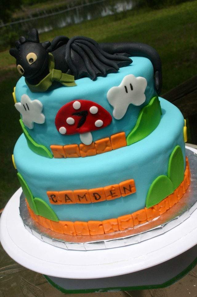Toothless in Mario land birthday cake