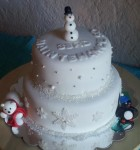 Christmas party cake with fondant figures.