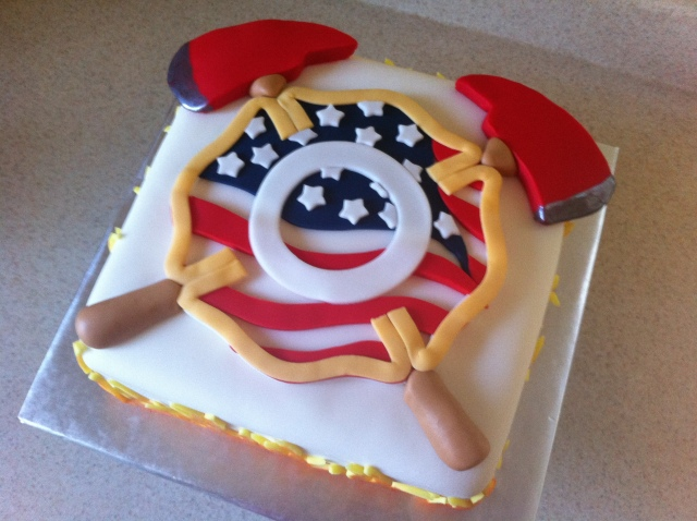Firefighter cross birthday cake