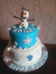 "Frozen themed birthday cake with fondant snowflakes, edible pearl ""snowballs"" and a fondant Olaf topper. Feeds 20-30. MSRP $130"