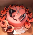 Hairdresser cake and cupcake combo. Cake-8in with 12 cupcakes with fondant décor. MSRP $150