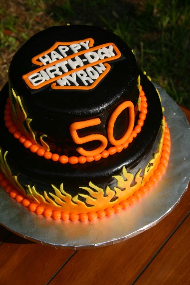 Harley Davidson Birthday logo cake
