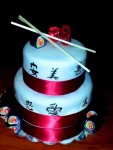 "Japanese inspired birthday cake. Each symbol was hand painted. Fondant sushi rolls and glitter ""28"" topper."