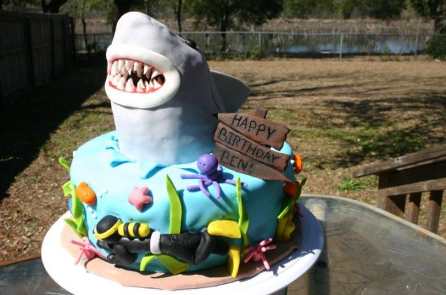 Jaws scuba diver birthday cake shark week