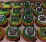 Minecraft cupcakes. Vanilla butter cake with vanilla buttercream topped with fondant topper.