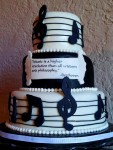 """""""Music to My Ears"""". This cake was made for the middle school beginning band performance. Gumpaste music notes and edible pearl boarder."""