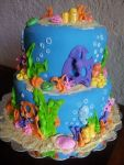 Ocean theme birthday cake featuring graham cracker sand floor, fondant appliques and white chocolate seashells, dusted with luster dust. Feeds 25-30. MSRP $135