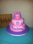 Pink and purple owls and butterflies with fondant owl cake topper. Feeds 25-30. MSRP $135