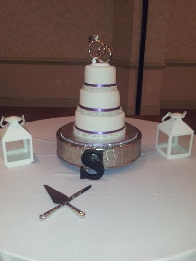 """Cassie"" A classic beauty! Satin ribbon with a fondant ribbon overlay covered in sparkly jewels."