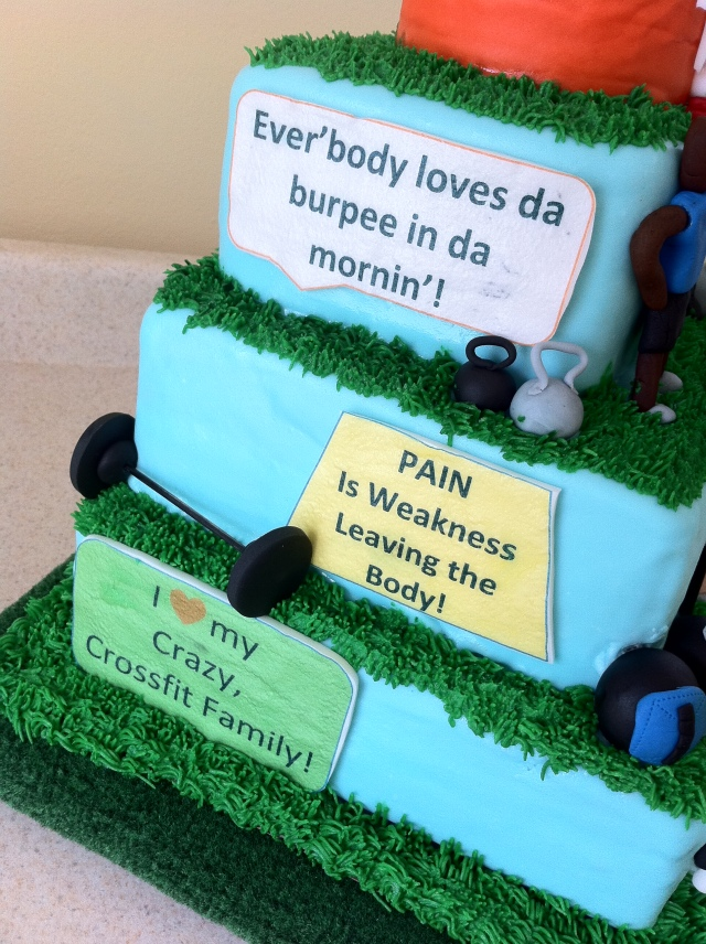 Inspirational saying on CrossFit cake