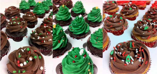 Christmas cupcakes trio