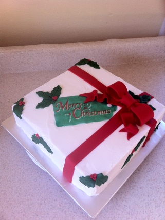 Holly present Christmas cake