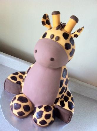 3D sculpted giraffe baby shower cake