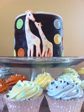 Carters Giraffe baby shower cake