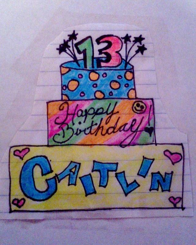 80s birthday cake sketch with rainbow, polka dots, & hearts