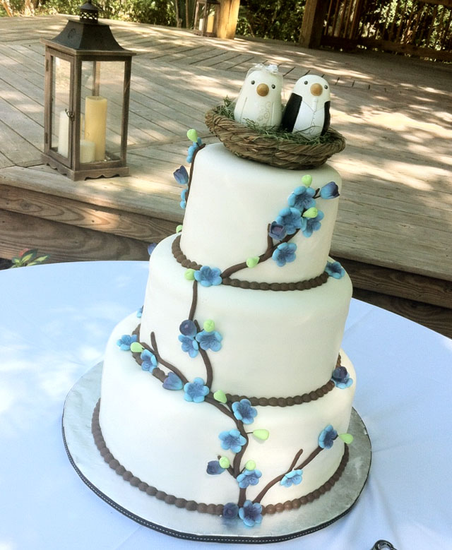 Cake With Fondant Bird : ?Sarah? Birds nest, branches & flowers wedding cake in ...