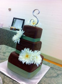 Chocolate brown and sage green wedding cake