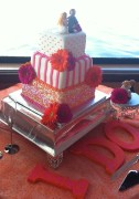hot pink orange flower wedding cake i do