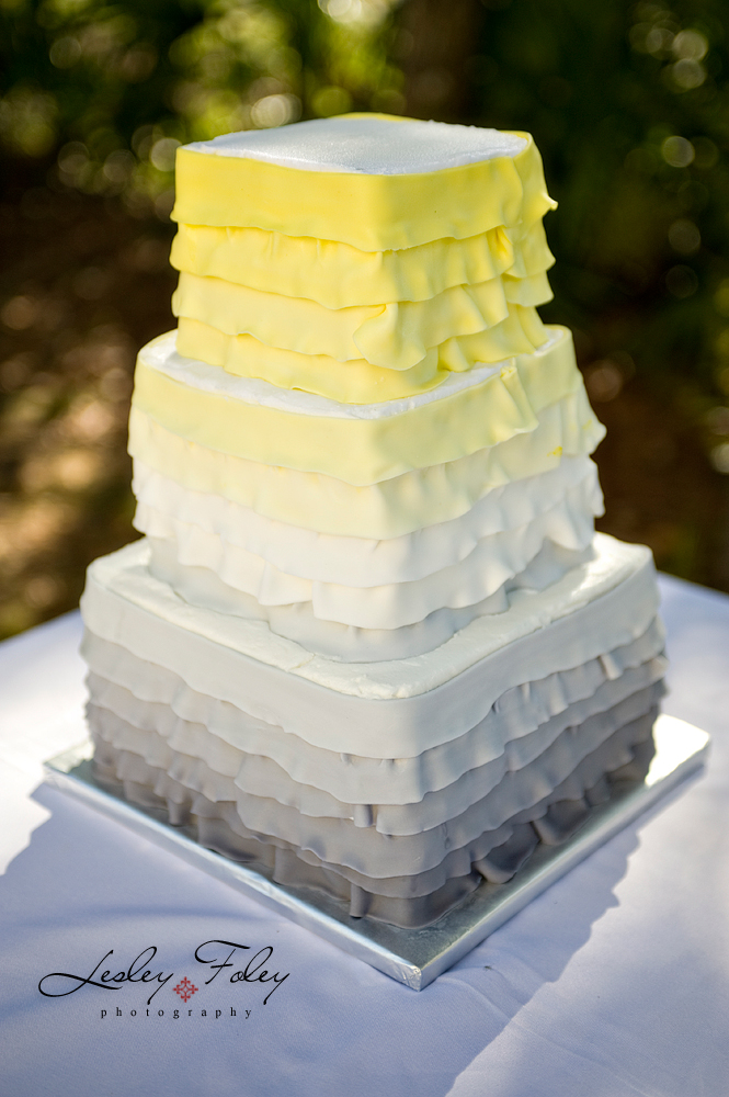"Jen"" Ombre yellow and gray wedding cake 