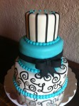 teal black white love scroll cake