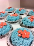 Teal coral bridal shower flower cupcakes