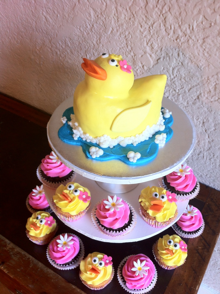 1st birthday duck cupcakes and smash cake