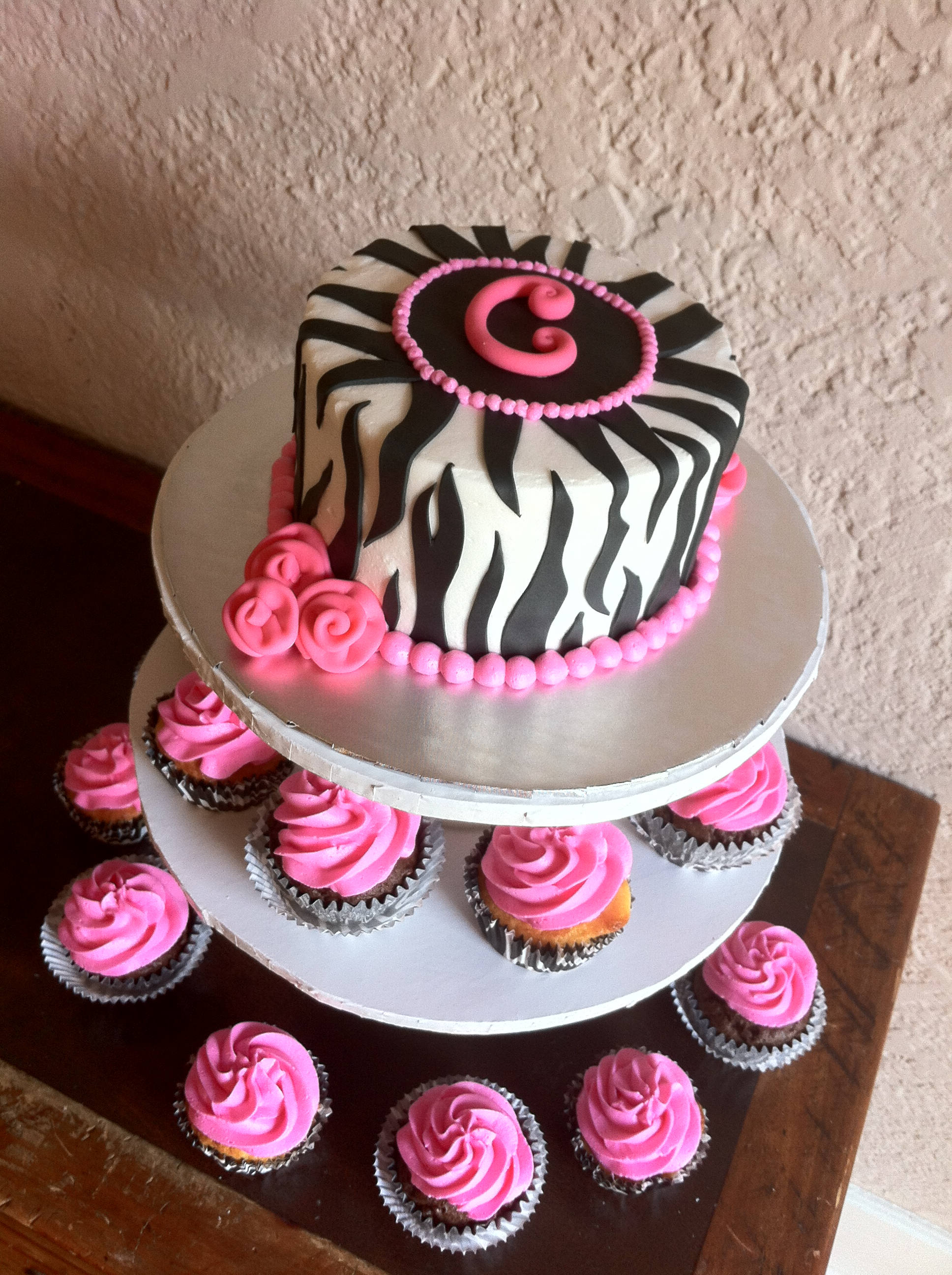1st birthday zebra smash cake 24 pink cupcakes Lolos Cakes