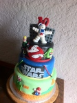 80s themed Cake including Ghostbusters - Star Wars - Super Mario