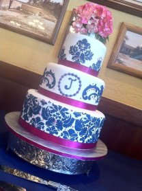 """Damask""Destin, FL wedding cake. Feeds 90-100, MSRP $435"