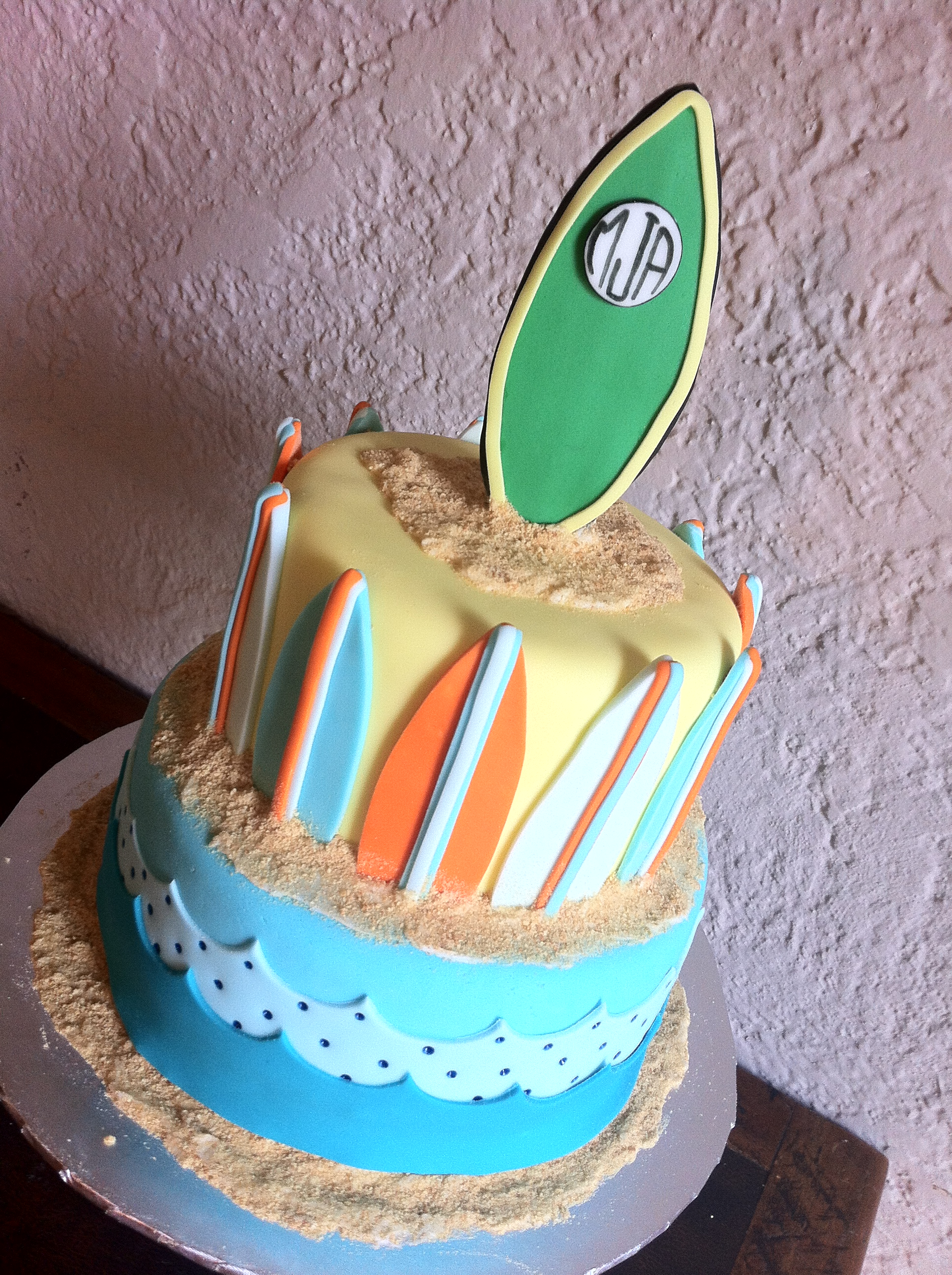 Wondrous Surfing Baby Shower Cake With Surfboards Lolos Cakes Sweets Personalised Birthday Cards Petedlily Jamesorg