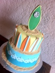 Surfing baby shower cake with surfboards
