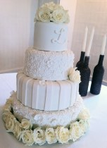 White on White rose wedding cake destin fl